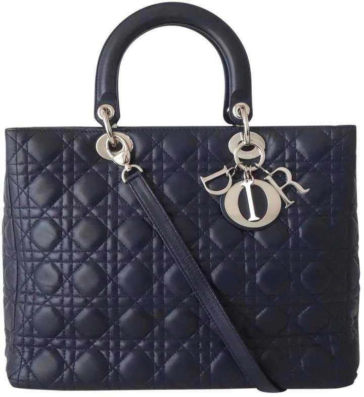 Christian Dior Lady Blue Leather Handbag Ladiesleatherhandbags Lady Dior Dior Handbags Lady Dior Handbag