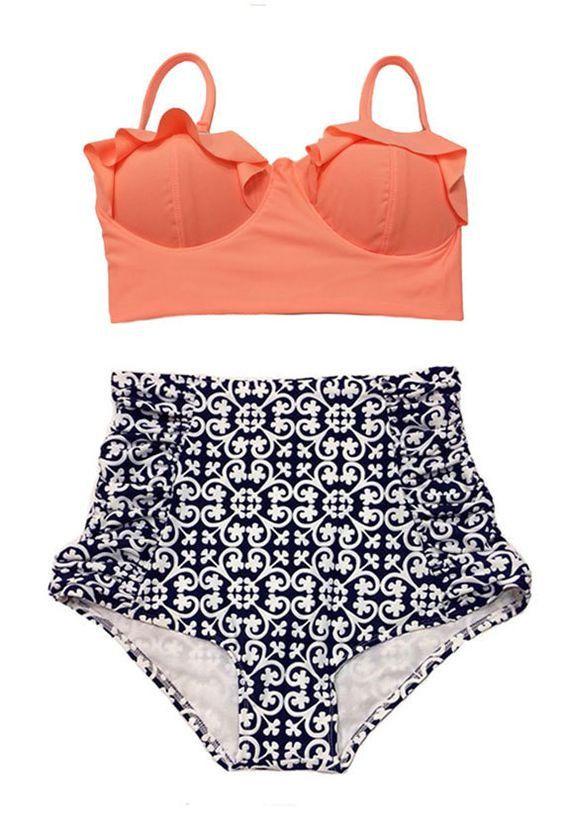 High Waist Swimsuit New Bikinis Women Push Up Bikini Set Plus Size Swimwear Vintage Retro Floral Bathing Suit Beach Wear XL