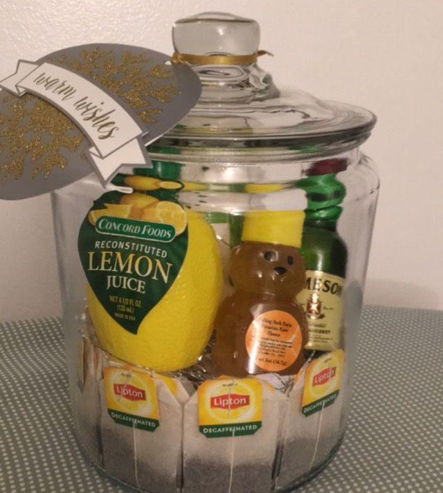 Gift in a jar: Hot Toddy Kit for $20 grab bag (mug, decaf tea, lemon juice , local honey and Jameson)