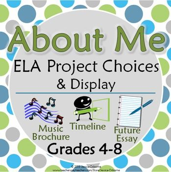 """Back-to-School """"About Me"""" ELA Project Choices & Bulletin Board/Wall Display: Includes timeline, music brochure, future essay: Grades 4-8"""