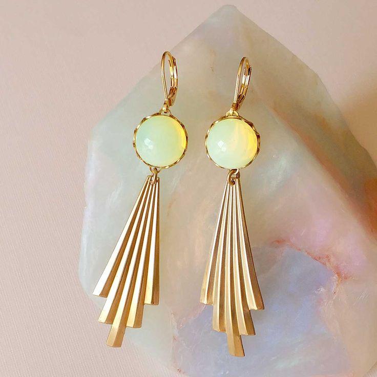 Aurora Earrings by Sandrine Devost    Opal yellow earrings, Art deco style, Boucles jaunes et dorées