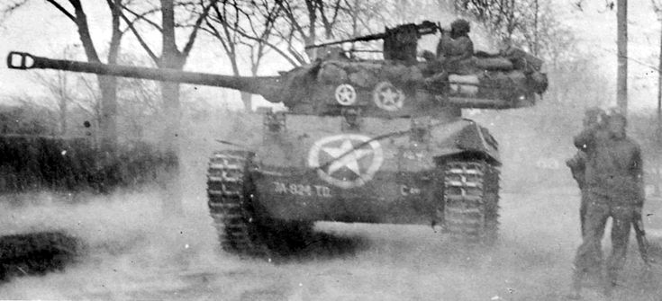 US Army M18 'Hellcat' Gun Moor Carriage/Tank Destroyer supporting 2nd Battalion, 397th Infantry Regiment in Wiesloch, Germany on 1 April 1945