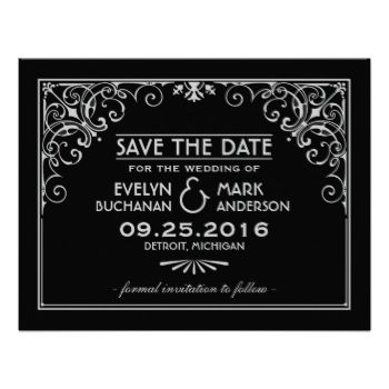 Elegant and glamorous wedding save the date announcements inspired by vintage art deco style and the roaring twenties. Card design features a black and platinum silver / gray color scheme, ornate decorative frame, custom text, and a graphic pattern on the back side. #wedding #save #the #date #save #the #dates #engagement #vintage #retro #art #deco #nouveau #elegant #custom #design #gatsby