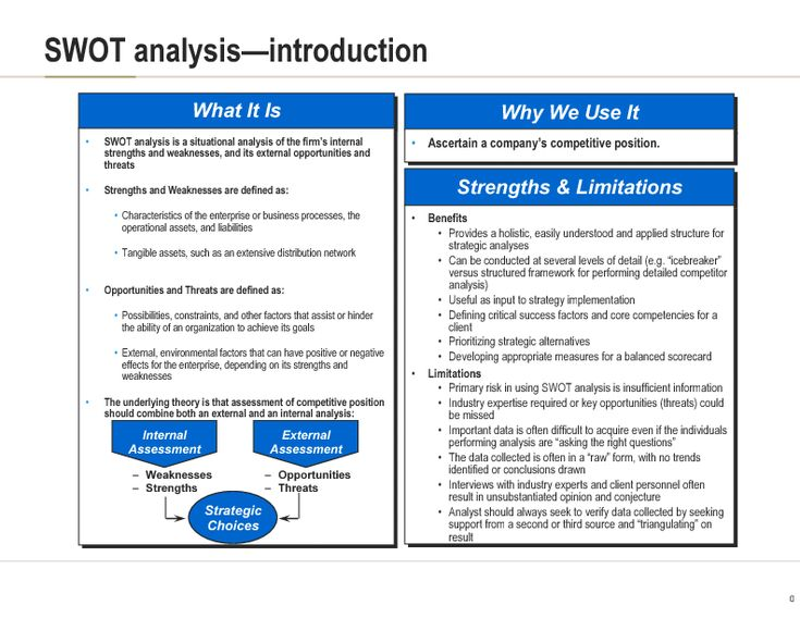 use the swot framework of analysis Swot analysis  creased use in healthcare steps in swot analysis the primary aim of strategic planning is to bring an organization into balance with the.