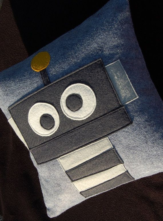 Gray Robot Pillow