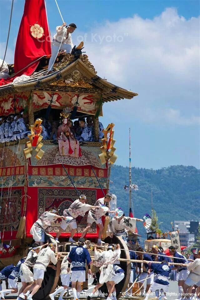 祇園祭 The Gion Festival started in 869. Floats are important cultural properties so called as moving works of arts. Kyoto, Japan