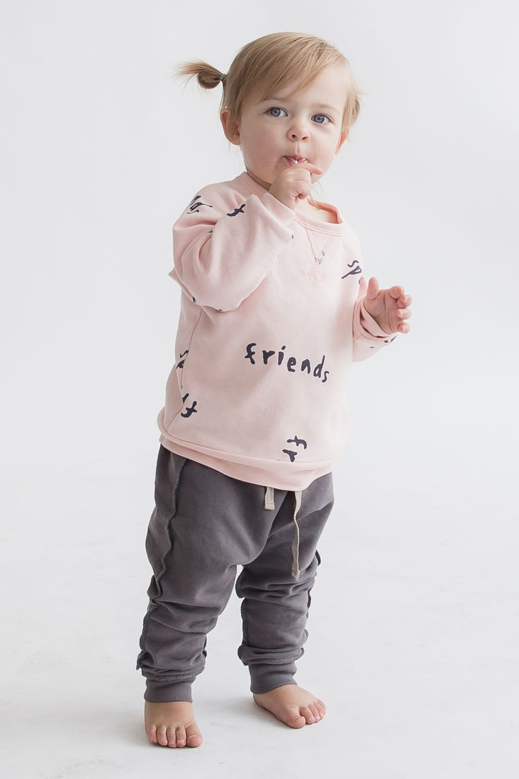 Let's be friends!! This adorable modern baby and kids sweatshirt is soft and cozy just perfect for cooler weather. It's dusty pink and would look too cute on any baby girl. We actually have this sweatshirt all the way to size 8, so your 8 year old could even sport it!
