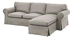The Heavy Cotton Ektorp Loveseat With Chaise Lounge Cover Replacement Is Custom Made for Ikea Ektorp Sectional 3 Seat ( Three ) Sofa Slipcover. Cover Only! (Light Gray)