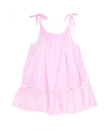 Very popular dress. Fully lined with ladder lace details back and front.  100% fine cotton.  Colour – Azalea