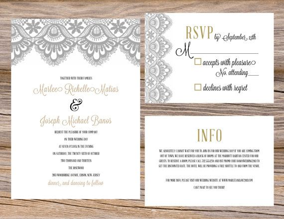Vintage Lace Grey & Gold Wedding Invitation Suite ~ DIY Printable Files! Includes invitation, RSVP, and insert card~Use coupon code PINTEREST15 at checkout for 15% off of your total order!
