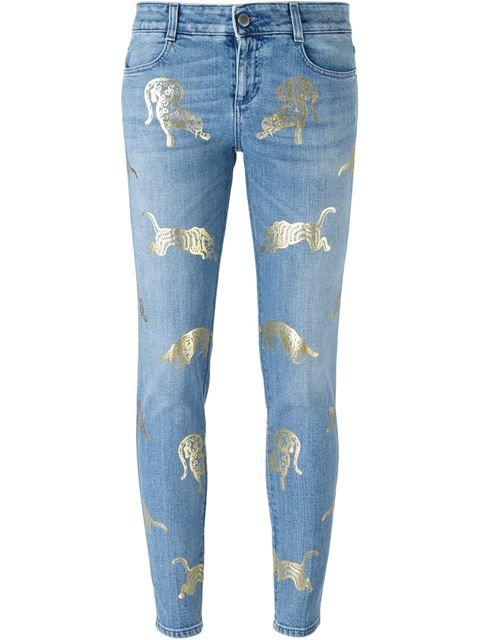 Stella McCartney узкие джинсы с принтом диких кошек