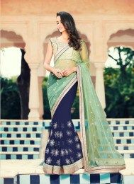 Georgette & Net Fabric Designer Party Wear Sari With Beautiful Embroidery Work