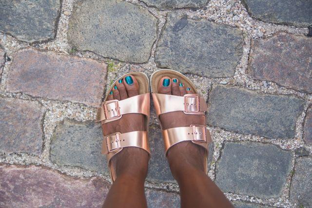 My rose gold Birkenstock sandals are so versatile