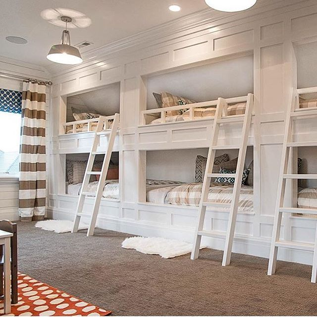 Multiple white panel bunk bed room design by @meagan_rae_interiors. |  @scoutandnimble instagram