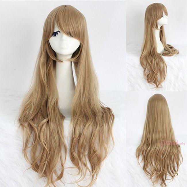 Gratis Pengiriman 80 CM Sintetis Rambut Panjang Curly Bergelombang Coklat Terang Cosplay Wig Muda