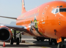Mango Airlines is famous for its bright orange coloured planes.
