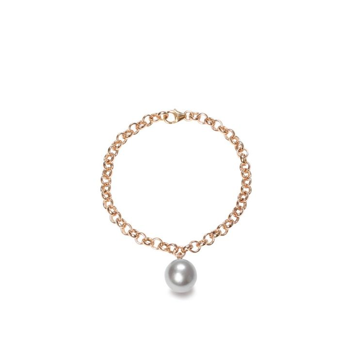 Large gold chain bracelet with grey XXL pearl charm by ORA Pearls  Shop Wedding / Bridal Jewellery & Hair Accessories at British Jewellery Boutique Song of Jewellery. Free Shipping.   Songofjewellery.com