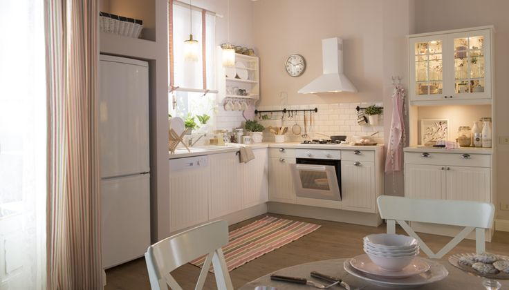 white kitchen, floor, high cabinets lighting Kitchens - Ikea Küchen Landhaus