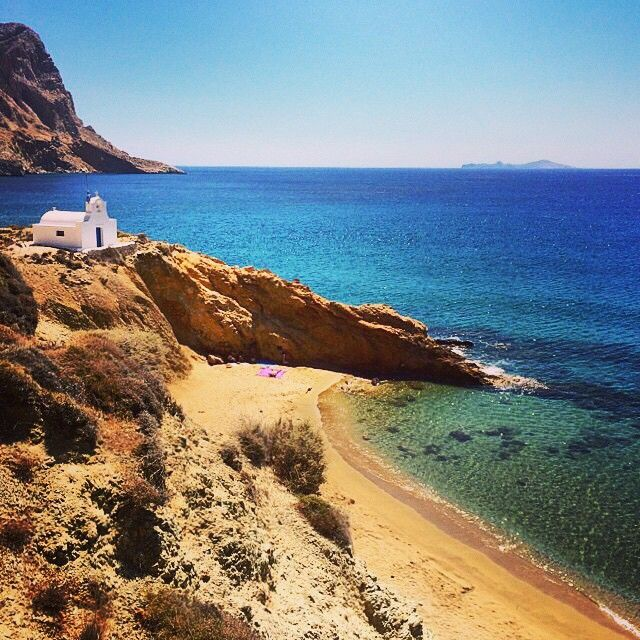 Beautiful small beach with a church on top , in Anafi island (Ανάφη) ☀️.