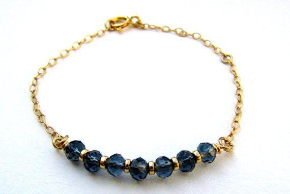 Navy blue bracelet. Dainty gold bracelet. Blue crystal bracelet. Layered by LirLir, $25.00
