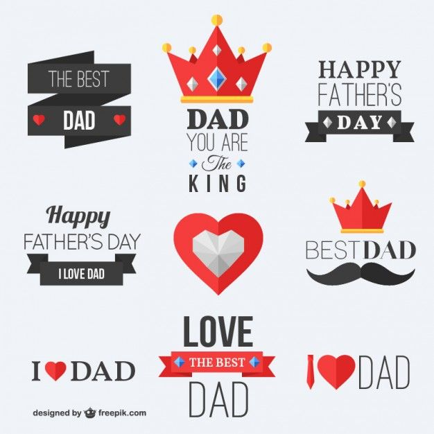 Pais feliz emblemas dias Vetor grátis
