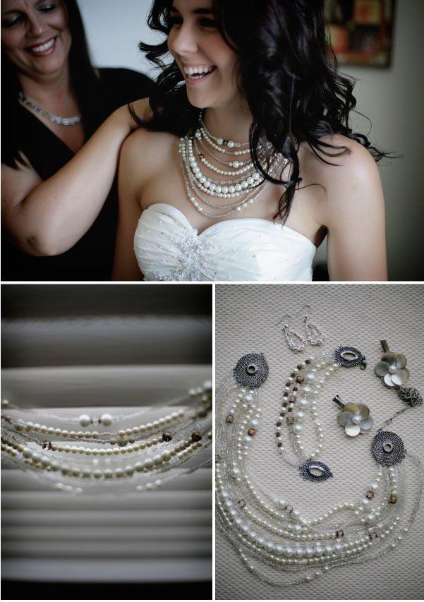 DIY pearl necklace.