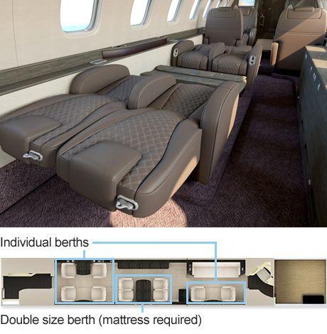 Legacy 650 Executive Jet Premium Leather Seat Berthing