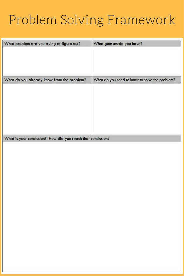 Problem Solving Framework: Use this tool to help your students solve problems--it help them develop their own problem solving techniques.