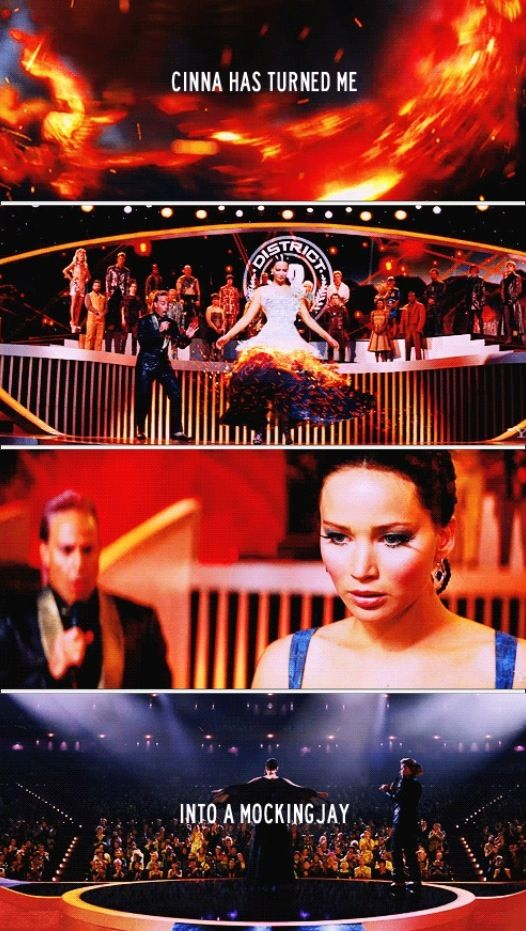 """""""Cinna has turned me into a Mockingjay."""" - Katniss in Catching Fire. Hunger Games I am at this part in the book !!"""