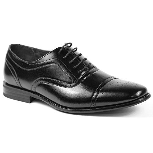 Delli Aldo M19006 Black Mens Lace Up Cap Toe Oxford Dress Shoes  http