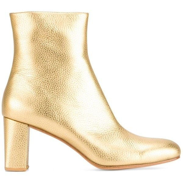 Maryam Nassir Zadeh Metallic Ankle Boots ($635) ❤ liked on Polyvore featuring shoes, boots, ankle booties, metallic, metallic bootie, metallic ankle boots, short boots, maryam nassir zadeh and ankle bootie boots