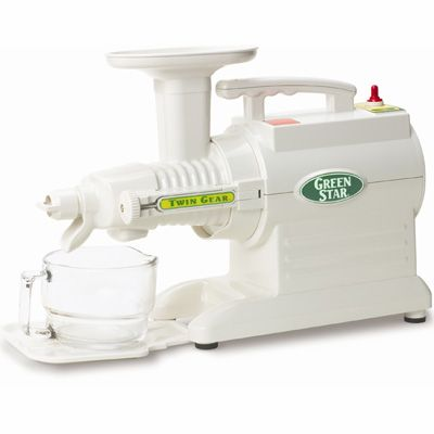 Green Star GS2000 Slow Juicer Twin Gear Juice Extractor for juicing Fruit, Vegetables, Wheatgrass, Almond, Pie Crusts, Sauces, Baby Food, Smoothies, Frozen Fruit Desserts and Nut Butters! Colour shown in White - Available to buy at http://www.juiceland.co.uk/item--Green-Star-Juicer-GS2000--GS2000.html