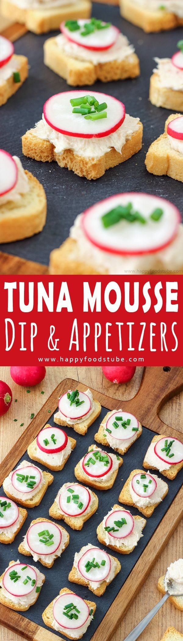 Easy to make Tuna Mousse Dip and Appetizers. Looking for easy party food ideas. This bite size tuna appetizers are quick and easy to make. Only 5 ingredients and ready in 15 minutes. How to make tuna mousse. Here is a quick step by step video via @happyfoodstube