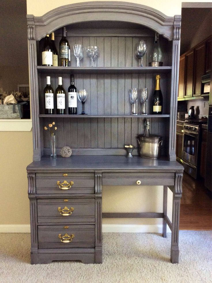 Hutch Desk Gray Wine Bar Hutch Student Desk Student Farmhouse Hutch Kitchen Hutch China Cabinet Dining Room Furniture Chalk Painted Buffet by ClassicTouchVintage on Etsy https://www.etsy.com/listing/540804588/hutch-desk-gray-wine-bar-hutch-student