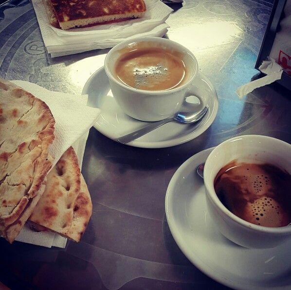 Espressos and paninis at Hermes a truckstop outside Bolzano, Italy