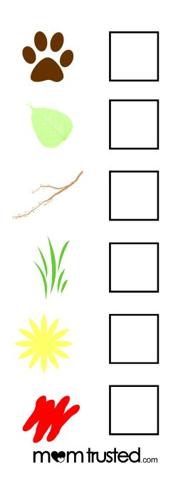 Printable nature scavenger hunt checklist for young kids.