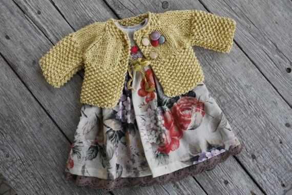Ropa de muñeca Waldorf chica - vestido y suéter ajuste 16,18 (slim fit) pulgadas muñecas tan rojo-mostaza