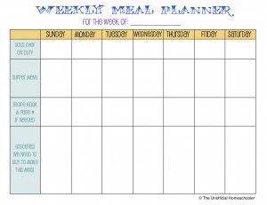 Meal Planning Template | The Unofficial Homeschooler