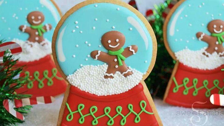 Gingerbread man snow globe cookies