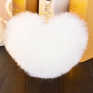 White Heart pom-pom szőrme kulcstartó és táskadísz