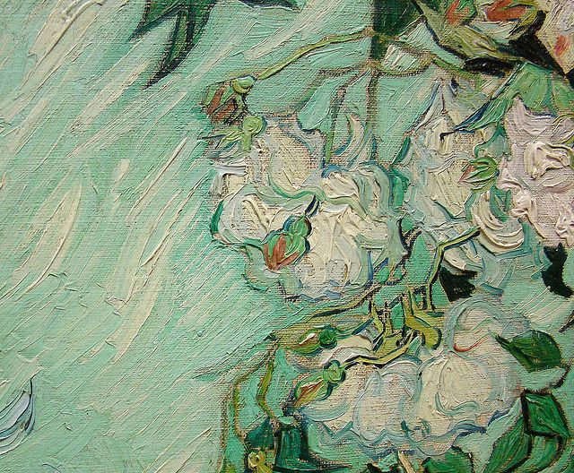 Vincent can Gogh detail of 'Roses'. This is part of the permanent collection at the National Gallery of Art. This was painted at St. Remy, the asylum. The paint on the canvas was so thick that Van Gogh had to leave it to dry when he left. It was later delivered to him.