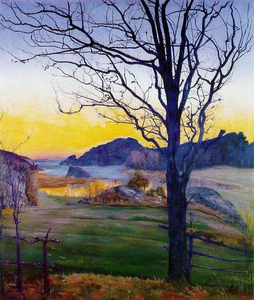 Sohlberg, Harald        [Norwegian Realist Painter, 1869-1935]      Autumn Landscape      1910      Oil on canvas      82 x 70.6 cm      Rasmus Meyers Collection, Bergen