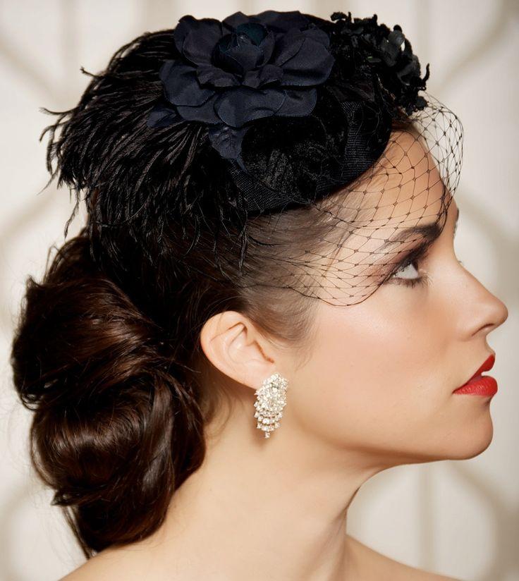 Love this hat!    Kentucky Derby Black Bridal Head Piece, Wedding Fascinator, Old Hollywood, Pillbox Hat, Cocktail Hat, Birdcage Veil, Black Flowers - HEIDI