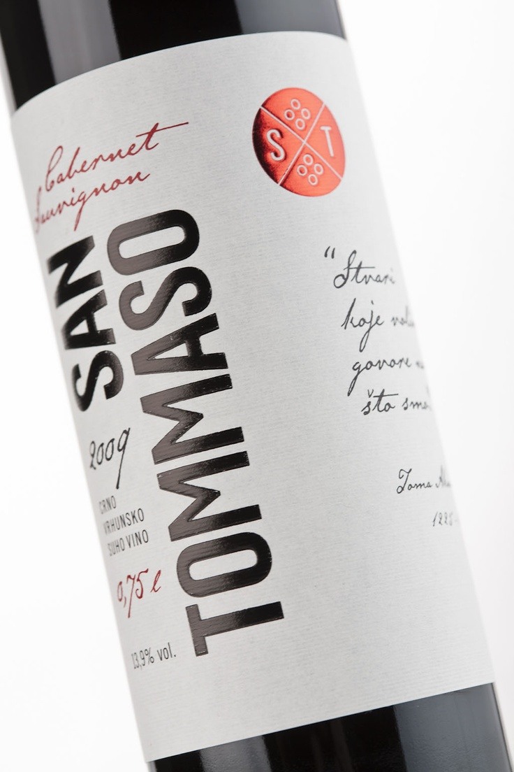San Tommaso is a brand of high quality wine from the vineyards of western Istria in Croatia. The label design was inspired by the wine's name – San Tommaso or St. Thomas Aquinas, philosopher and theologian who lived in the 13th century.