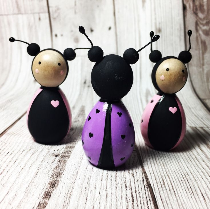 Purple love bug peg doll Valentine's Day gifts. By Gabe and Penny. Available from Etsy or Facebook from £7