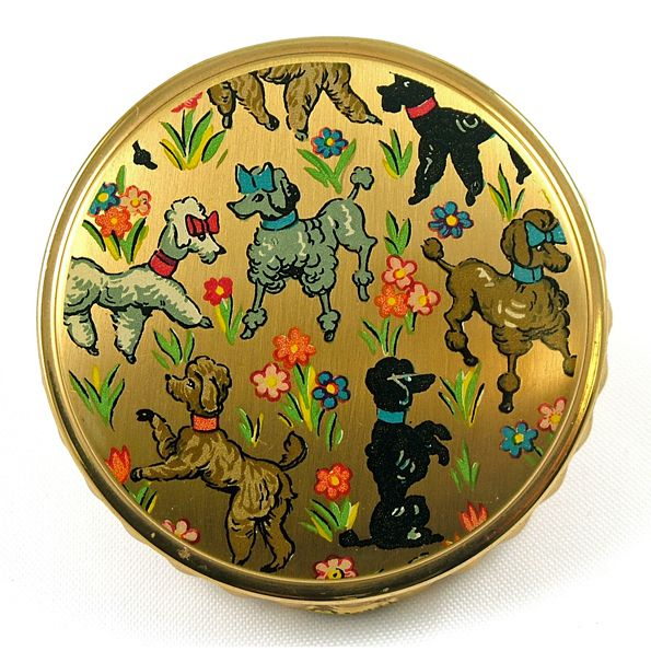 Vintage Powder Compact - French Poodle Design -  circa 1940s - 50s       Love this