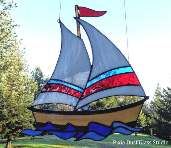 Stained Glass Sailboat Suncatcher, Glass Sailboat with Driftwood Hanger, Window Hanging, Nautical Decor, Glass Boat, Coastal, Father's Day
