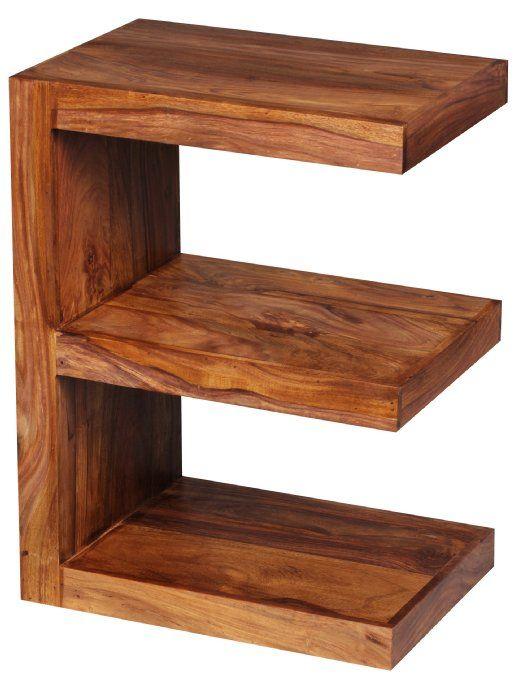 Wohnling WL1.304 Table d'appoint avec étagères en forme de E en bois massif 44 x 30 x 85 cm