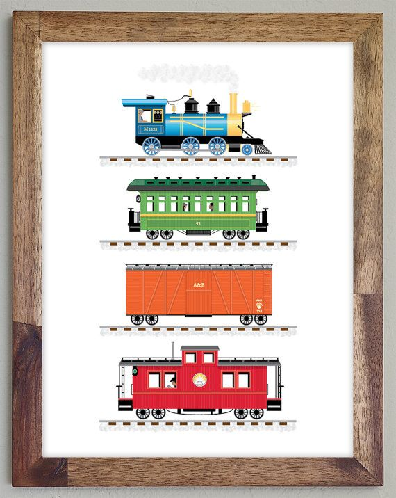 Train Print Art for Boys Room 8.5 x 11 by CloudSweptKids on Etsy, $9.00