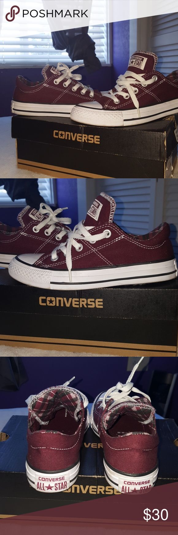 Converse shoes Only worn once, nice shoes wish I could keep size is to small for me. Deep burgendy color checkered inside. Comes with shoe box Converse Shoes Sneakers